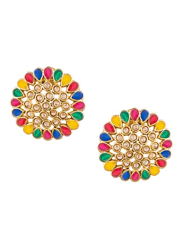 Sia Art Jewellery Gold-Toned Floral Studs Sia Art Jewellery Earrings at myntra