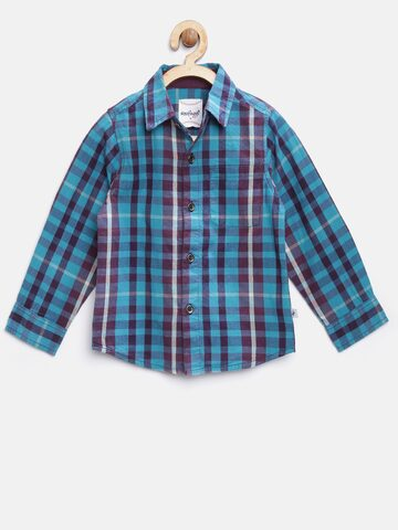 Nauti Nati Boys Blue & Burgundy Checked Casual Shirt Nauti Nati Shirts at myntra