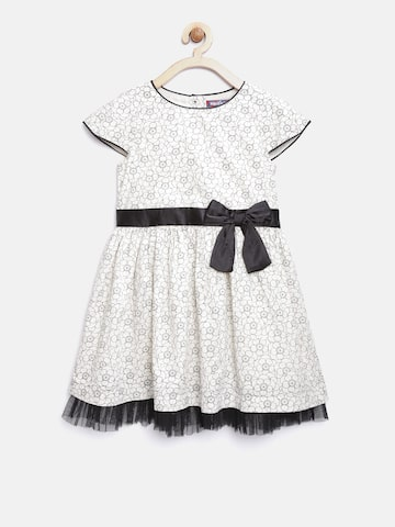 Nauti Nati Girls Off-White & Black Printed Fit & Flare Dress Nauti Nati Dresses at myntra