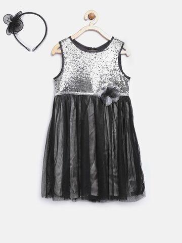 Nauti Nati Girls Black & Silver Sequinned Fit & Flare Dress Nauti Nati Dresses at myntra