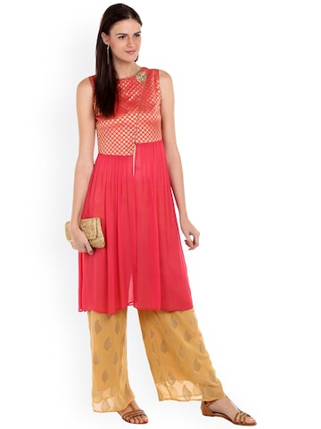 Fusion Beats Pink Stylised Shrug with Woven-Design Fusion Beats Shrug at myntra