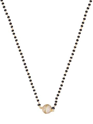Sia Art Jewellery Gold-Toned & Black Beaded Mangalsutra Sia Art Jewellery Jewellery Set at myntra