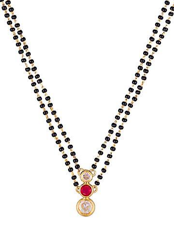 Sia Art Jewellery Gold-Toned & Black Beaded Dual-Stranded Mangalsutra Sia Art Jewellery Jewellery Set at myntra