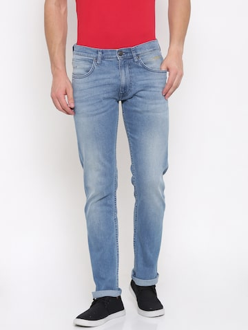 Lee Men Blue Powell Slim Fit Mid Low-Rise Clean Look Stretchable Jeans Lee Jeans at myntra