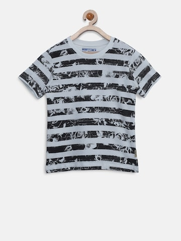 Flying Machine Boys White Striped Round Neck T-shirt with Printed Detail Flying Machine Tshirts at myntra