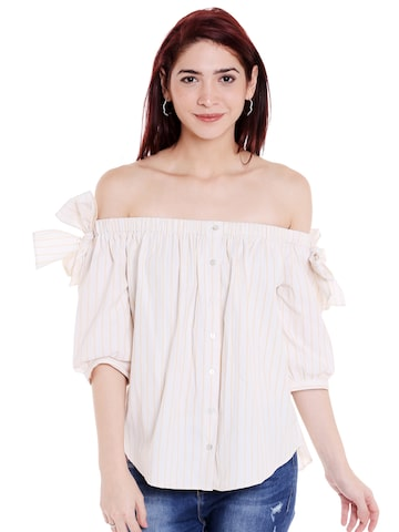 Style Quotient Women Off-White Solid Bardot Top Style Quotient Tops at myntra