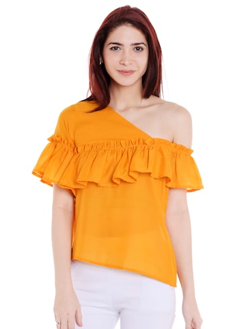 Style Quotient Women Mustard Yellow Solid Top Style Quotient Tops at myntra