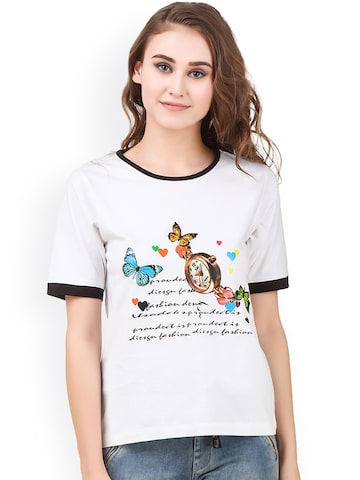 Texco Women White Printed Top Texco Tops at myntra