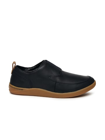 Clarks Men Navy Mapped Easy Leather Slip-On Sneakers Clarks Casual Shoes at myntra