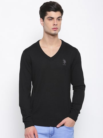U.S. Polo Assn. Men Black Solid Pullover U.S. Polo Assn. Sweaters at myntra