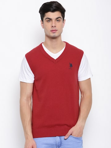 U.S. Polo Assn. Men Red Solid Sweater Vest U.S. Polo Assn. Sweaters at myntra