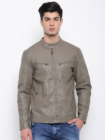 U.S. Polo Assn. Men Grey Solid Biker Jacket U.S. Polo Assn. Jackets at myntra