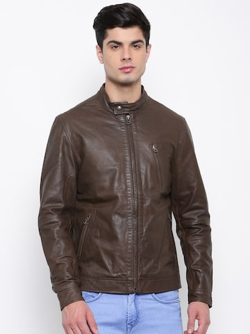 U.S. Polo Assn. Men Coffee Brown Solid Leather Biker Jacket U.S. Polo Assn. Jackets at myntra