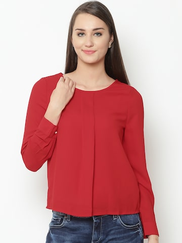 United Colors of Benetton Women Red Pleat Detail Top United Colors of Benetton Tops at myntra