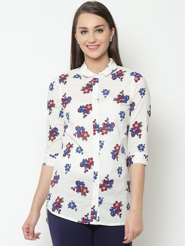 United Colors of Benetton Women White & Blue Printed Casual Shirt United Colors of Benetton Shirts at myntra