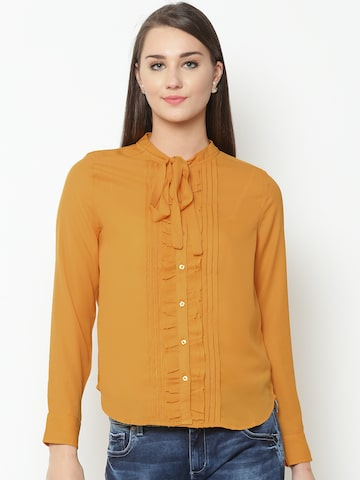 United Colors of Benetton Women Mustard Yellow Solid Shirt Style Top United Colors of Benetton Shirts at myntra