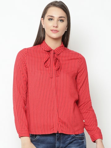 United Colors of Benetton Women Red & Black Regular Fit Striped Casual Shirt United Colors of Benetton Shirts at myntra