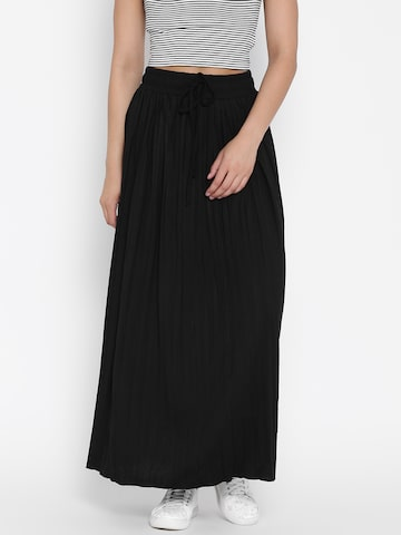 United Colors of Benetton Black Flared Maxi Skirt United Colors of Benetton Skirts at myntra