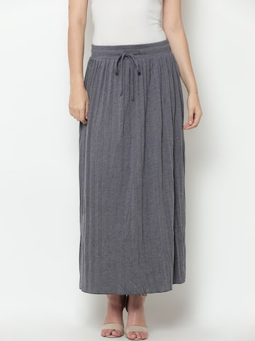 United Colors of Benetton Grey Melange Pleated A-Line Maxi Skirt United Colors of Benetton Skirts at myntra