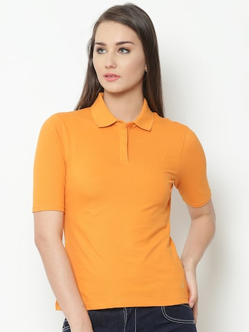 United Colors of Benetton Women Yellow Solid Polo Collar T-shirt United Colors of Benetton Tshirts at myntra