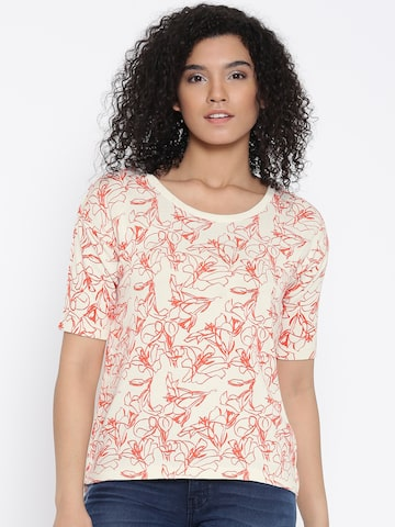 Wills Lifestyle Women Off-White & Orange Printed Top Wills Lifestyle Tops at myntra
