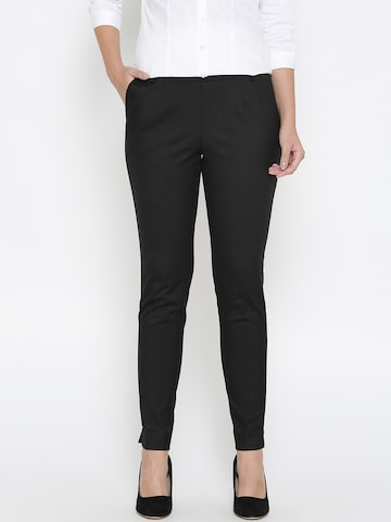 Wills Lifestyle Women Black Slim Fit Solid Formal Trousers Wills Lifestyle Trousers at myntra