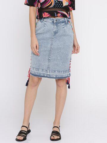 Global Desi Blue Denim Skirt Global Desi Skirts at myntra