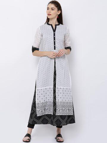 Vishudh Women White & Black Printed A-Line Kurta Vishudh Kurtas at myntra