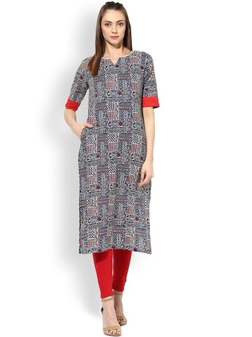 AKS Women Blue Printed Straight Kurta at myntra