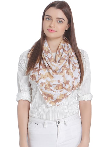 Vero Moda White & Brown Printed Scarf Vero Moda Scarves at myntra