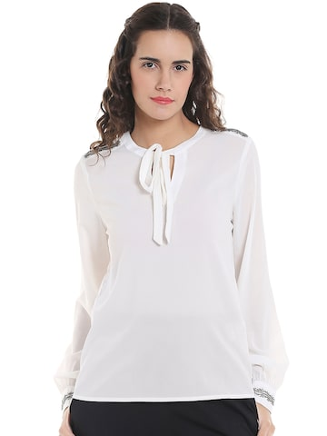 Vero Moda Women Off-White Solid Top Vero Moda Tops at myntra