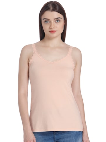 Vero Moda Women Peach-Coloured Solid Fitted Top Vero Moda Tops at myntra