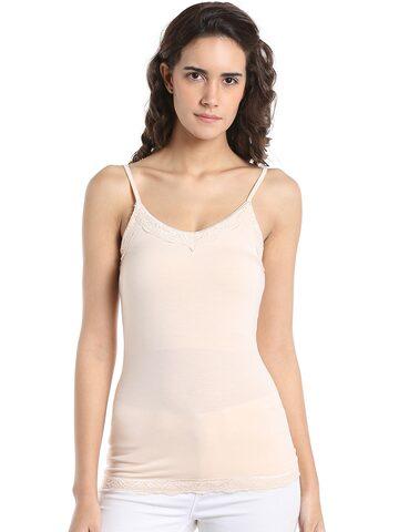 Vero Moda Women Nude-Coloured Solid Fitted Top Vero Moda Tops at myntra