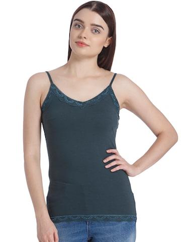 Vero Moda Women Dark Green Solid Fitted Top Vero Moda Tops at myntra