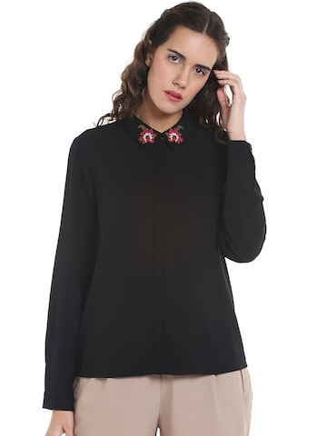 Vero Moda Women Black Regular Fit Solid Casual Shirt Vero Moda Shirts at myntra