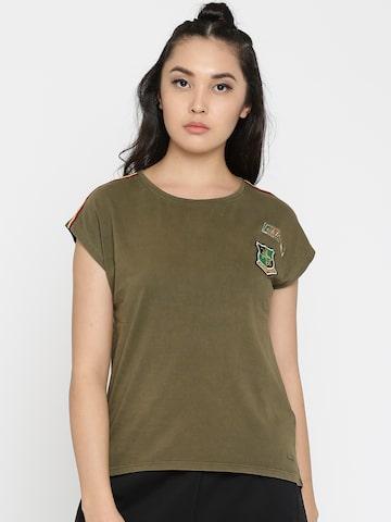 Vero Moda Women Olive Green Solid Round Neck Longline T-shirt Vero Moda Tshirts at myntra