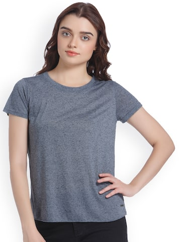 Vero Moda Women Grey Melange Flecked Effect Round Neck T-shirt Vero Moda Tshirts at myntra