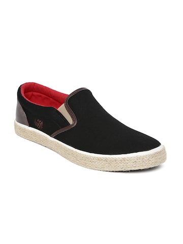 Flying Machine Men Black Lovett Slip-On Sneakers Flying Machine Casual Shoes at myntra