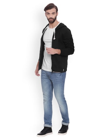 Campus Sutra Men Black Solid Hooded Sweatshirt Campus Sutra Sweatshirts at myntra