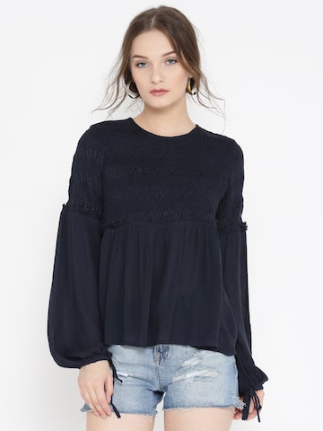 Vero Moda Women Navy Solid A-Line Top Vero Moda Tops at myntra