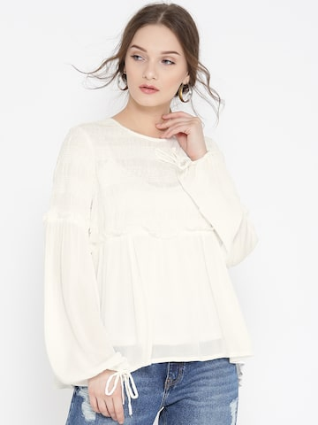 Vero Moda Women White Smocked A-Line Top Vero Moda Tops at myntra