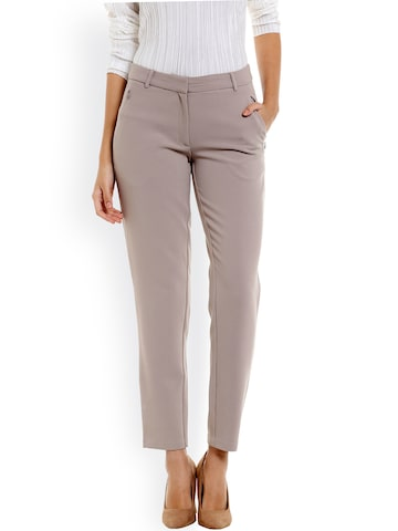 Vero Moda Women Taupe Regular Fit Solid Formal Trousers Vero Moda Trousers at myntra