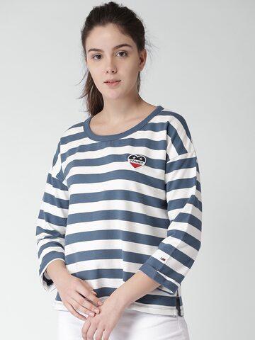 Tommy Hilfiger Women Blue & White Striped Round Neck T-shirt Tommy Hilfiger Tshirts at myntra
