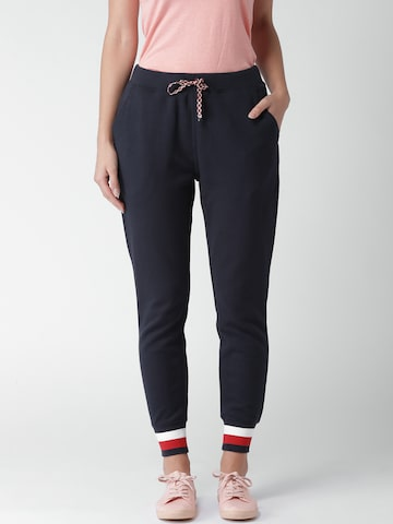 Tommy Hilfiger Women Navy Blue Regular Fit Solid Joggers Tommy Hilfiger Trousers at myntra