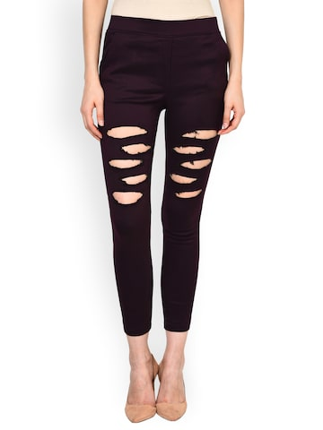 Castle Burgundy Ripped Jeggings Castle Jeggings at myntra