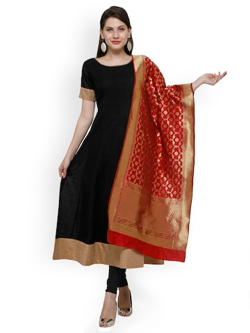 Inddus Black & Red Cotton Blend Unstitched Dress Material Inddus Dress Material at myntra