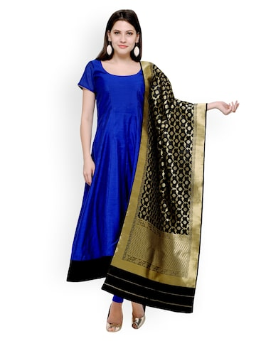 Inddus Blue & Black Cotton Blend Unstitched Dress Material Inddus Dress Material at myntra