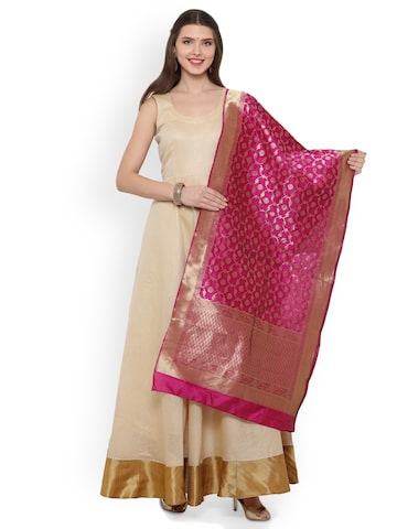Inddus Cream-Coloured & Magenta Cotton Blend Unstitched Dress Material Inddus Dress Material at myntra