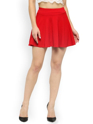 N-Gal Red Flared Mini Skirt N-Gal Skirts at myntra