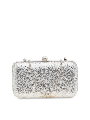 Tarusa Silver-Toned Shimmer Box Clutch Tarusa Clutches at myntra